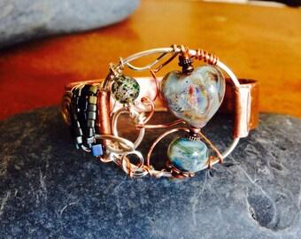 Glowing Heart Copper Bracelet