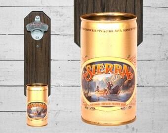 Wall Bottle Opener with Vintage Sierra Beer Can Cap Catcher