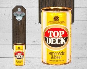 Top Deck Wall Mount Bottle Opener with Vintage Beer Can Cap Catcher - Great Groomsmen Gifts