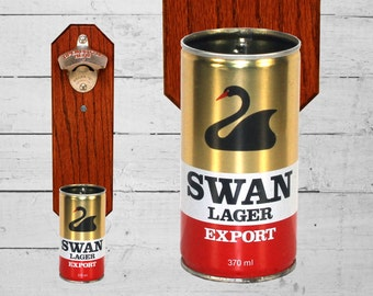 Swan Lager Beer Bottle Opener with Vintage Wall Mounted Beer Can Cap Catcher