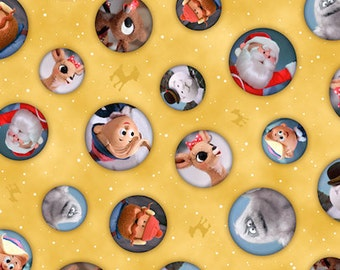 Gold - Character Bubble Toss from Quilting Treasures - by the yard