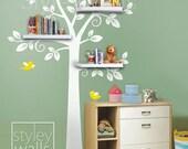 Shelf Tree Wall Decal Nursery Decal Wall Sticker, Shelves Tree Decal, Shelving Tree Wall Decal, Nursery Tree Decal, Kids Room Decor Sticker