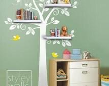 Shelf Tree Wall Decal Nursery Decal Wall Sticker, Shelves Tree Decal, Nursery Tree Decal, Kids Room Decor Sticker, Shelving Tree Wall Decal