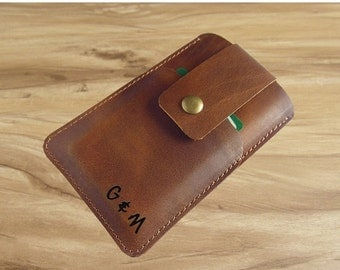 Holiday Sale 10% off Personalized leather Iphone 6 case / leather Iphone 6 plus sleeve / Iphone 5s case wallet / Iphone case for women, mens