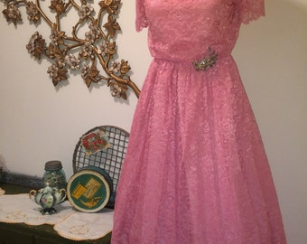 Beautiful Vintage Belle of the Ball Pretty In Pink Prom Wedding Bridesmaid Dress