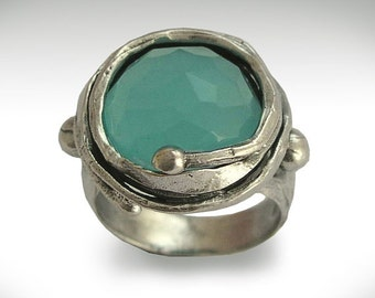 Sterling Silver Ring, gemstone ring, blue quartz ring, oxidized ring, statement ring, cocktail ring, blue gemstone ring - Blue ice. R1470-6