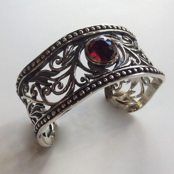 Wide  filigree cuff,  Sterling filigree bracelet, garnet bracelet, statement cuff, oxidized bracelet for her - Because you're mine B3000