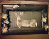 "Original hand-painted tray/frame: ""Harbor"" (rabbit, skull, forget-me-not flowers)"