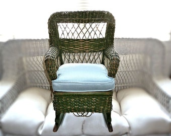 Antique Green Wicker Rocker Child's Dickerman Paper Label Blue Upholstered Cushion