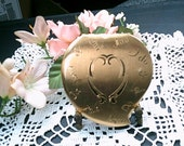 Heart Shaped Gold Plated Compact, Vintage 1950s, Elgin American, USA