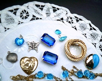 Blue Jewelry Destash Lot, Blue Stones, Pins, Charms, Chain, Much Misc., Jewelry Making, Repurpose
