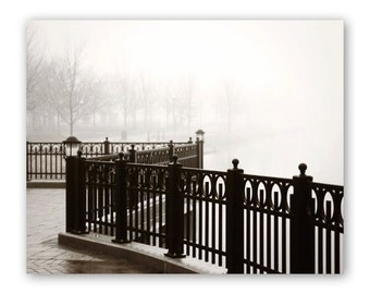 Black and White Photography, Foggy Urban Landscape, Black Wrought Iron Fence, Parallel Lines, Modern Zen, Urban Office Decor