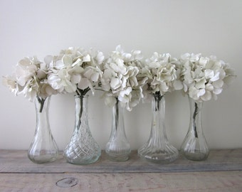Vintage Clear Glass Bud Vases Set of Five Small  - Instant Collection