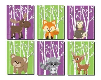 Baby Girl Nursery, Violet Green Wall Art, Woodland Nursery Wall Decor, Forest Animal,Kids Wall Art,Fox,Deer,Moose, Set of 6 Prints or Canvas