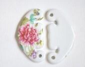 SALE! Porcelain Ceramic Flower Necklace Pendants 70mm (#80080)/ 5pcs