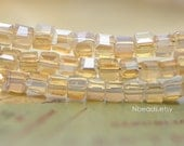 200 beads- Faceted Glass Cube, 2mm Tiny Faceted Crystal Spacer beads, Opal Gold Champagne- (#FZ02-45)