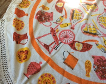 Vintage tablecloth fringe pink yellow white red cathryn holm fish pitcher spinning wheel boat danish design dishes terry cloth table round