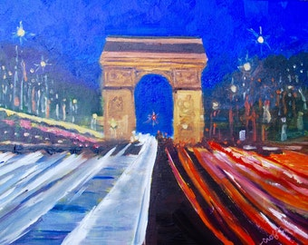 Original Modern Impressionist Landscape Oil Painting of the Arc d' Triumph Paris France by Rebecca Croft