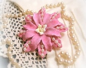 Dahlia Pink Brooch Pin Pink Flower Brooch Pink Flower Pin Elegant Brooch Floral Pin Floral Brooch Flower Broach Sweet Gift for Her Under 20