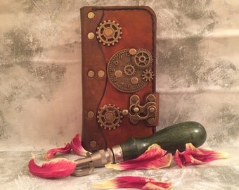 Handmade leather iPhone 6 case - steampunk iPhone case - leather iPhone 6 cover - antique leather iPhone case - book style iPhone 6 case