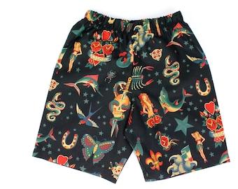 Boy's Rockabilly Tattoo Shorts