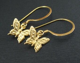 Gold Butterfly Earrings, Vermeil Butterfly Charm Earrings, Gold Charm Earrings, Metal Butterfly Dangle, Minimalist Earrings, Gold Jewelry,