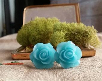 Flower Plugs, Wedding  Gauges, Blue, Roses
