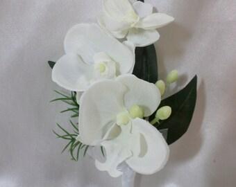 Boutonniere - White Silk Orchid Boutonniere - Floral Boutonniere - Prom Boutonniere