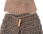 Etsy Gifts, Crochet Tan Beanie Skull Hat and Crochet Tweed Button Cowl, Adult Winter Accessories, Beanie Toque, For HIM or HER