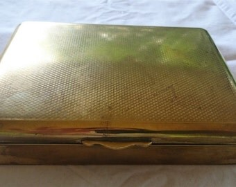 Vintage State Express Cigarettes Box Case Brass Metal and Wood Art Deco 1920's - 1930's