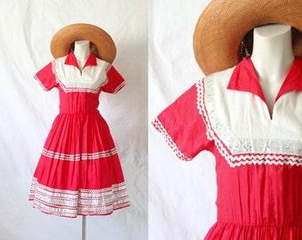 c1950's Red Squaw Metallic Patio Dress Sz S/M