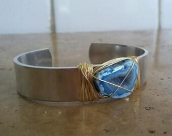 Blue Geode Slice Cuff