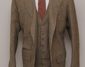1960s men's brown houndstooth heavy wool vest and jacket set/ 60s men's houndstooth vest and blazer