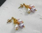 Dainty Gold filled Pearl Cluster Earrings, Post or Stud Earrings, Pastel Pearl Earrings, June Birthstone
