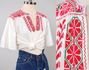 Vintage 60s 70s cotton embroidered folk blouse / Bell sleeves / Bohemian cross stitch blouse