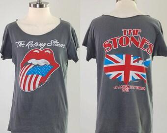 Vintage 80s ROLLING STONES concert tour t shirt / 1981 North American tour / Soft faded cut