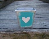 Heart- square metal bin, painted bin, painted bucket, pail, metal storage container, pink, distressed paint, trinket box, nautical decor