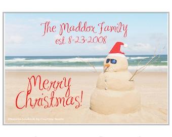 Personalized Beach Christmas Welcome Mat / Custom Beach Rug/ Doormat, Coastal Christmas Holiday Welcome Mat- Coastal Christmas