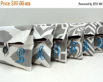 ON SALE Monogrammed Bridesmaid Gifts Set of Six (6) Bridesmaid Clutches