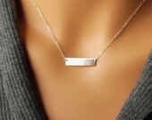 Sterling Silver Bar Necklace, Initial Bar Necklace, Silver Initial Necklace, Sterling Silver Nameplate, Silver Monogram Necklace