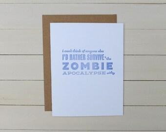 zombie pick-up line letterpress card