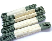 "Vintage 1920s/1930s Still Packaged Shoelaces  63 "" Metal Tip - Grey Green Dead Stock Round Shoelaces per Pair - Shoestrings - Old Bootlaces"