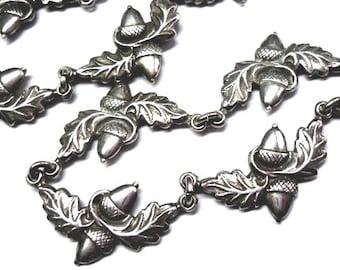 """Vintage Acorn Necklace - Danecraft Sterling Acorn and Oak Leaf Necklace Choker - Vintage Signed 15"""" - Danecraft and Sterling Mark on Back"""