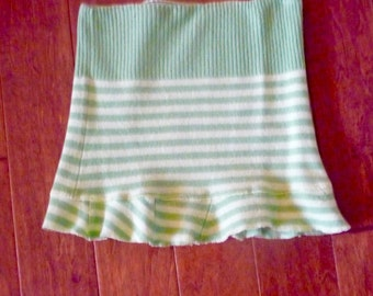 Upcycled Felted Sweater Skirt Green Stripe Wool Small Free US Ship
