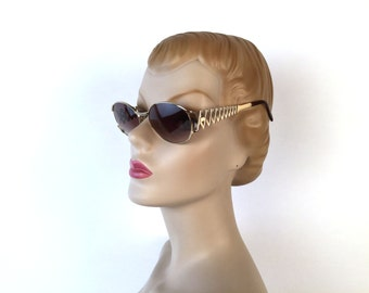 Vintage 90s YSL Giant Y Sunglasses, Oval Frame, Gold, Multiple Y Pattern, Rosy Gray Lens, Yves Saint Laurent, Model 6036, Deadstock, Italy