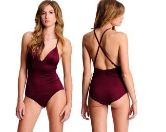 Comfortable Lingerie- Soft Jersey Bodysuit- Burgundy