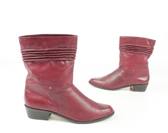 Vintage 80s Etienne Aigner Leather Boots Burgundy Ankle Boots 1980s Equestrian Riding Boots Womens Size 8