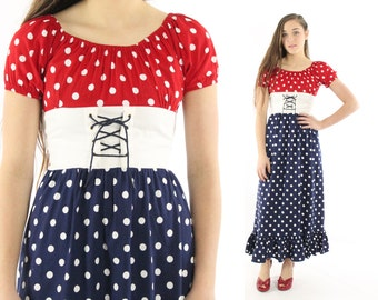 Vintage 70s Polka Dot Maxi Dress Short Sleeve Sailor Nautical Corset Dress 1970s XS Small S Navy Blue Red