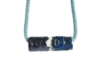 Rope necklace with ARTISAN bead and aqua cord, blue bronze ceramic porcelain blue bronze glaze, silver clasp
