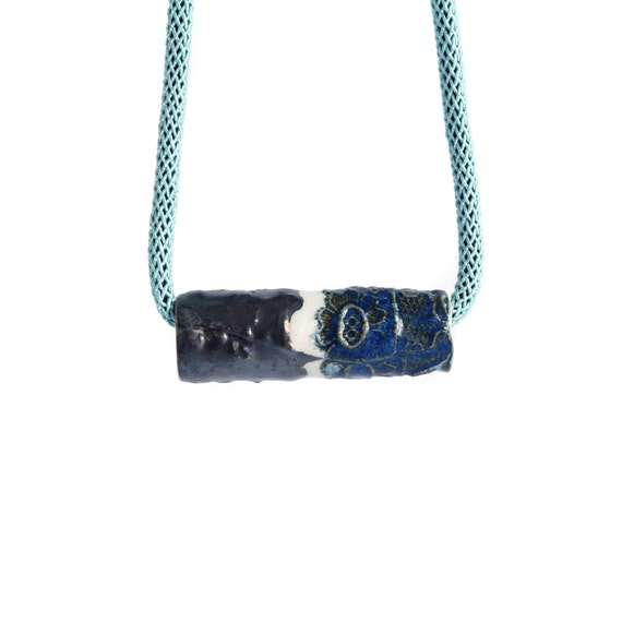Rope necklace with ARTISAN bead and aqua cord, blue bronze ceramic porcelain blue bronze glaze, silver clasp